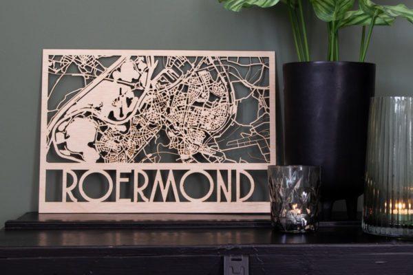 lasergesneden houten stadsplattegrond roermond