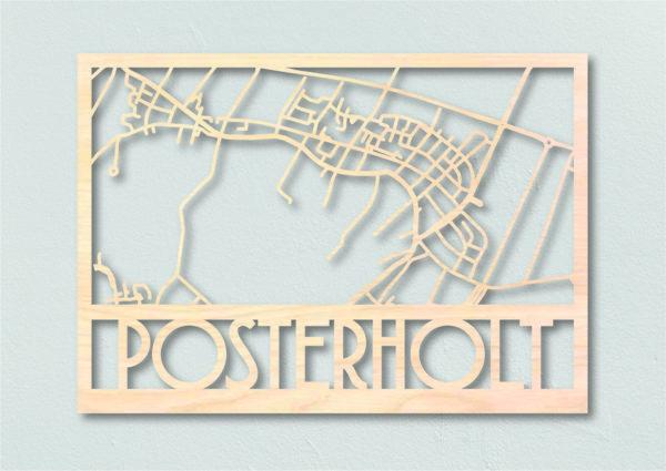 Plattegrond Posterholt gemaakt uit hout
