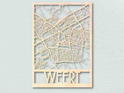 plattegrond van Weert uit hout gelaserd