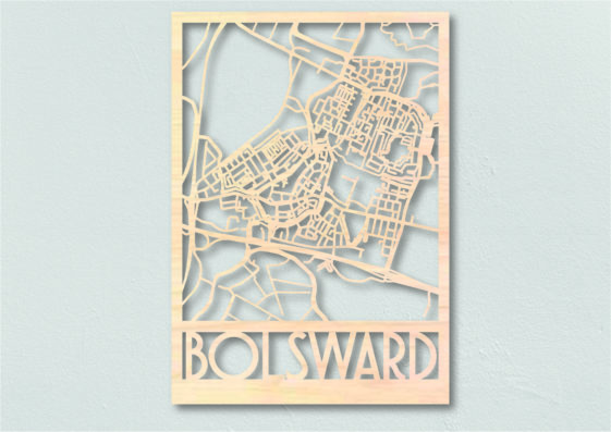 Landkaart hout Bolsward Plattegrond