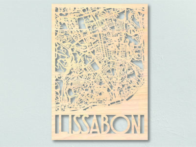 Landkaart Hout Plattegrond Lissabon