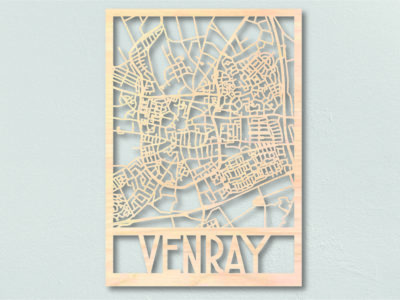 Plattegrond Venray gemaakt uit hout