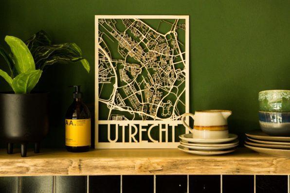 Stadsplattegrond Utrecht uit hout