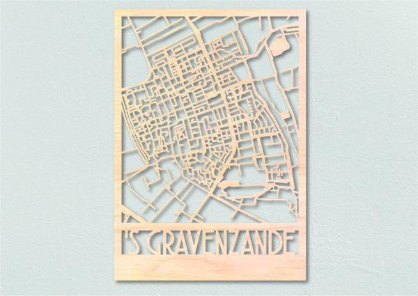 'sGravenzande landkaart hout gelaserd