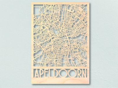 Landkaart hout stadsplattegrond Apeldoorn