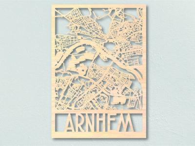 Landkaart hout Stadsplattegrond Arnhem
