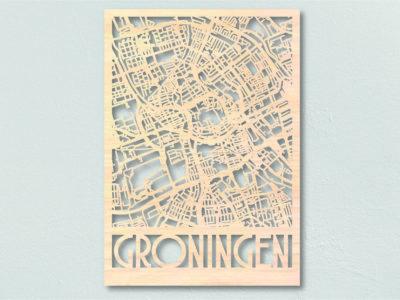 Landkaart hout Stadsplattegrond Groningen