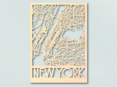 Landkaart hout New York lasercut wooden map