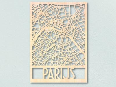 Landkaart hout plattegrond Parijs