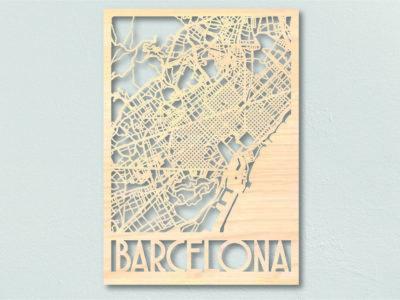 Barcelona Landkaart Hout
