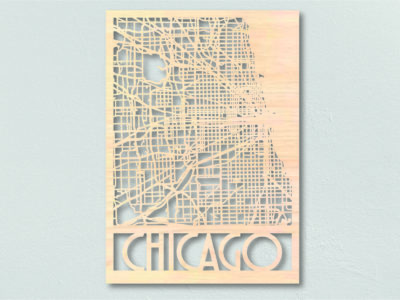 Landkaart hout Chicago