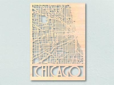 Landkaart hout Chicago