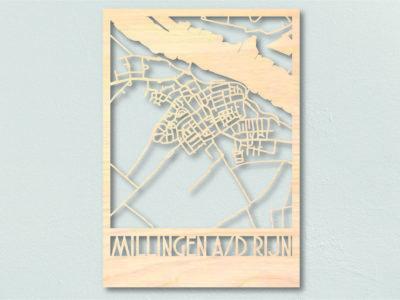 landkaart hout Millingen aan de Rijn