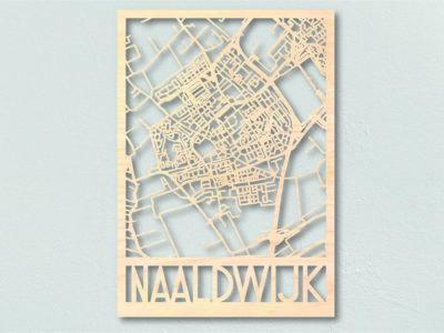 Houten landkaart Naaldwijk