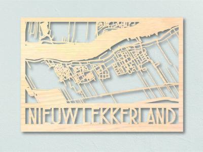 Houten landkaart Nieuw Lekkerland
