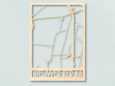 Houten landkaart Nieuwer ter Aa