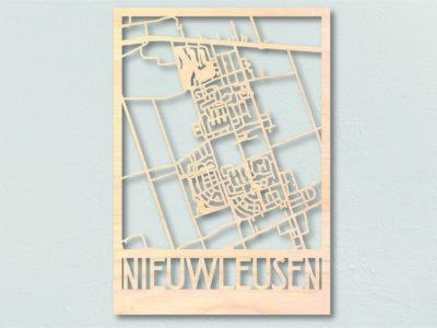 Houten landkaart Nieuwleusen