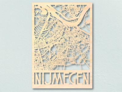 Houten landkaart Nijmegen
