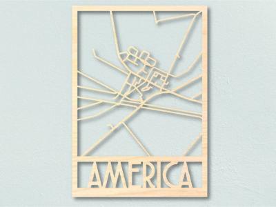Landkaart hout America